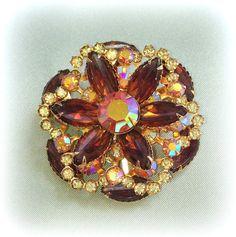 Amber & Citrine Rhinestone Gold-Tone Flower BROOCH