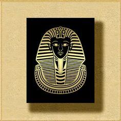 8x10 Pharaoh Tutankhamun Head Gold Black Wall Print Ancient Egypt Home Decor Printable Digital Art / Instant Download