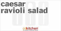 Made with cheese ravioli, cherry tomato, cucumber, purple onion, ripe olives, Parmesan cheese, black pepper, caesar salad dressing, romaine lettuce | CDKitchen.com