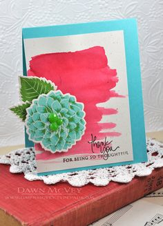 Dahlia Thank You Card by Dawn McVey for Papertrey Ink (July 2013)