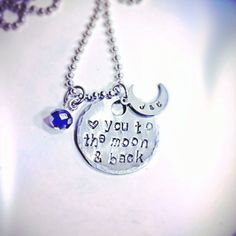 SaLe FREE colored stones add on option! Love you to the Moon and Back Personalized Necklace~ by TinyTrinketShop on Etsy