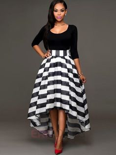 Color Block Stripe High-Low Ball Gown Maxi Dress