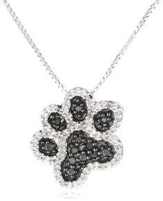 "Fashion Bug Sterling Silver Black and White Diamond Dog Paw Pendant Necklace (1/10 cttw, I-J Color, I3 Clarity), 18"" www.fashionbug.us"