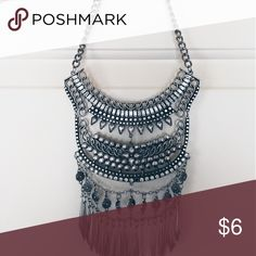 Layered Tribal Style Statement Necklace Bohemian Fringe Necklace Accessories