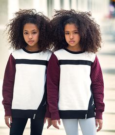 Do you have twins and you need matching outfits and hairstyles for them, these pictures will give you ideas. Cute Mixed Kids, Mixed Girls, Cute Little Girls Outfits, Kids Outfits Girls, Kids Girls, Cute Twins, Cute Baby Girl, Forever 21 Girls, Natural Hairstyles For Kids