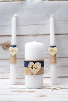 Rustic Unity Candle Set Navy Blue Candle Personalized Wedding Unity Set Burlap w. Wedding Unity Candles, Rustic Candles, Blue Candles, Pillar Candles, Candle App, Baptism Candle, Cute Wedding Ideas, Shabby, Personalized Wedding