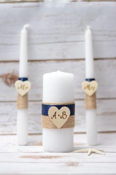 Rustic Unity Candle Set Navy Blue Candle Personalized  Wedding Unity Set Burlap wedding by HappyWeddingArt on Etsy https://www.etsy.com/listing/254210857/rustic-unity-candle-set-navy-blue-candle