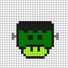 Frankenstein Mushroom Perler Bead Pattern