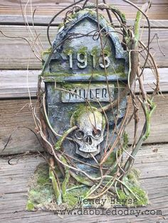 'Root of Evil' Tombstone Mixed Media – Dabble Kinda Doday Halloween Items, Halloween Cards, Holidays Halloween, Halloween Decorations, Halloween Wreaths, Halloween Projects, Mix Media, Halloween Shadow Box, Alien Drawings