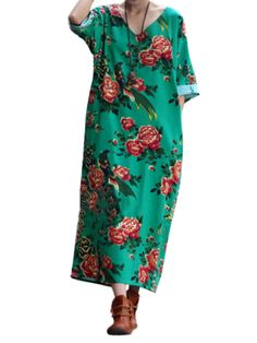 Sale 22% (26.69$) - Loose Women Half Sleeve Flower Printing Split Cotton Linen Dress