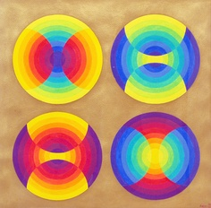"Herbert Bayer (1900-1985), ""Chromatic Circles, 1960, acrylic on paper, 14"" x 14"""