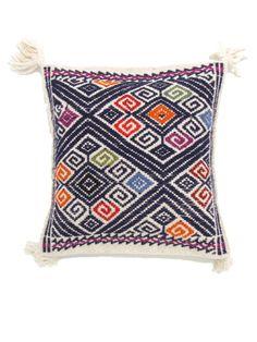 Handwoven Lara Wool Pillow Cover Midnight Blue  Funda Lara en Lana Azu   Chiapas Bazaar  Fairtrade Mexican Artisanal Collection
