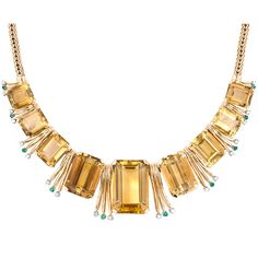 Retro Citrine, Emerald and Diamond Necklace | From a unique collection of vintage more necklaces at https://www.1stdibs.com/jewelry/necklaces/more-necklaces/