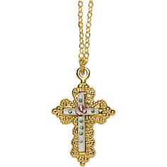 """Cloisonne Cross with beautiful gold filled edge and 18"""" chain."""