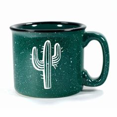 Ocean Blue Cactus camp mug, by Bread and Badger Cactus Paint, Coffee Cups, Tea Cups, Coffee Time, Cactus Decor, Cute Mugs, Glazed Ceramic, Ceramic Mugs, Parent Gifts