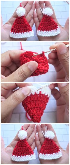 Santa Hat Tutorial - Learn to Crochet - Crochet Kingdom - Knitting is so easy . Santa Hat Tutorial - Learn to Crochet - Crochet Kingdom - Knitting is so easy . # crochet Helau and Alaaf! Crochet Santa Hat, Bonnet Crochet, Crochet Diy, Learn To Crochet, Crochet Crafts, Yarn Crafts, Crochet Projects, Crochet Snowman, Crochet Beanie