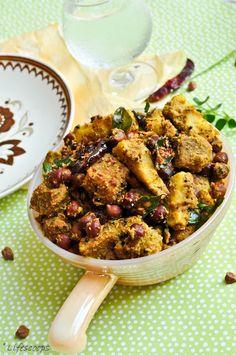 Life Scoops: Malabar Kootu Curry (Black Chickpea, Yam and Raw Banana with Coconut) Plantain Recipes, Banana Recipes, Potato Recipes, Indian Vegetarian Dishes, Vegetarian Recipes, Cooking Recipes, Healthy Recipes, Veg Recipes Of India, Indian Food Recipes