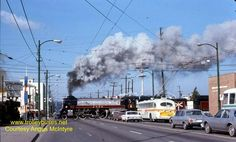 Vancouver Brill 2217 at Broadway and Arbutus with CP steam engine 2860 in 1975 Richmond Vancouver, Vancouver Bc Canada, Vancouver Island, West Coast Canada, Canadian Pacific Railway, Railroad History, Boat Plans, Old Pictures, Historical Photos