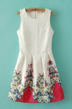 Sweet Floral Printing Sleeveless Vintage Skater Dress