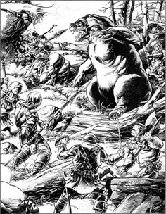 Hunters and hunted. (Mark Nelson, AD&D Wilderness Survival Guide, TSR, 1986.)