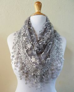 Scarf SILVER with floral print and richly by OriginalDesignsByAR, $15.00