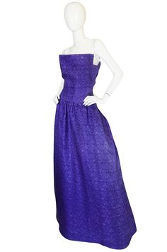 1960s Arnold Scaasi Couture Purple & Silver Gown | From a collection of rare vintage evening dresses at https://www.1stdibs.com/fashion/clothing/evening-dresses/