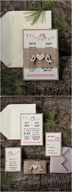 Rustic Lovebirds Pink Wedding Invitation Kits / http://www.deerpearlflowers.com/rustic-wedding-invitations/2/