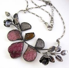 Along the Rose Bramble Sterling silver and Tourmaline by glowfly