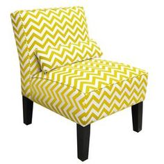 Refresh your home for the new season with this beautifully crafted design, perfect for updating your den, guest room, or master suite dcor.   Product: Slipper chairConstruction Material: Wood and fabricColor: Yellow and whiteFeatures: Handmade in USAAccent pillow includedDimensions: 30 H x 25 W x 33 D Shipping: This item ships small parcelExpected Arrival Date: Between 04/24/2013 and 05/02/2013Return Policy: This item is final sale and cannot be returned