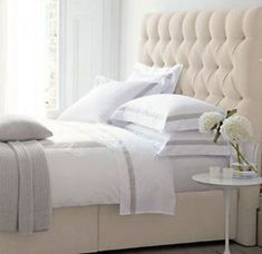 61 Trendy Bedroom Ideas Grey And White Tufted Headboards White Tufted Headboards, White Headboard, Headboards For Beds, Double Headboard, Headboard Ideas, Painted Headboard, Living Room Decor Colors, Living Room Grey, Bedroom Color Schemes