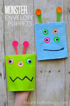 Kids will love making this simple monster puppet craft out of an envelope. Couple it with a favorite monster book for kids.