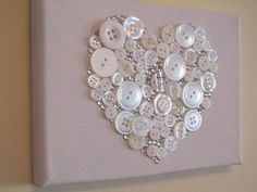 Valentine White Button Heart Canvas