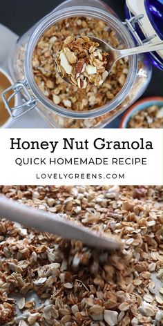 Surprisingly easy to make crunchy granola recipe with rolled oats, honey, and nuts. Make it from start to finish in about 45 minutes Honey Nut Granola Recipe, Muesli Recipe, Crunchy Granola, Low Carb Granola Recipe With Oats, Home Made Granola Healthy, Homemade Granola Recipe, Easy Granola Recipe Healthy, Rolled Oats Recipe, Homemade Muesli