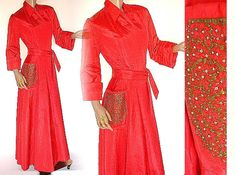Vintage 1940s Robe Dressing Gown Red by ByMidnightSparkle on Etsy, $145.00