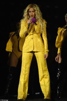 Steal Beyonce's style in a lemonade yellow blazer. Click 'Visit' to buy now. #DailyMail