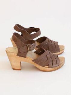 No. 6 - Huarache Clog High Heel - Light Grey Suede