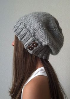 dff780589c2 Knit slouchy hat - HEATHER GRAY (more colors available - made to order)