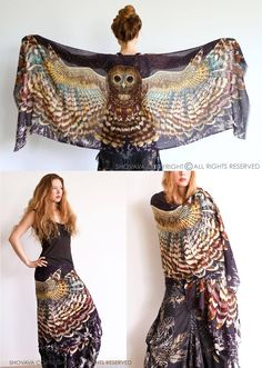 Owl Scarf / Sarong by Shovava Clothing Owl Scarf, Poncho Scarf, Scarf Wrap, Feather Scarf, Owl Wings, Blazers, Kinds Of Clothes, Style Clothes, Festival Outfits