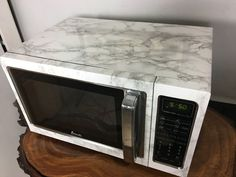 Faux Marble Microwave With Contact Paper