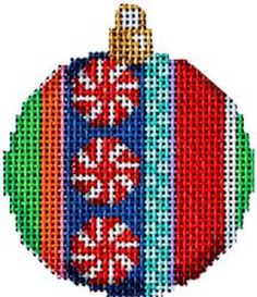 Jolly Stripe Mini Ball (CT-1480) is a pair of Christmas needlepoint ornament canvas designs by Associated Talents available from the Needle Nook of La Jolla