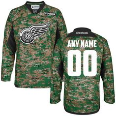[THIS IS AMAZING] Men's Detroit Red Wings Reebok Digital Camo Veteran's Day Custom Practice Jersey