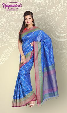 e96cd66ca8 Feel and look absolutely beautiful in this royal blue Banarasi woven saree.  This elegant saree