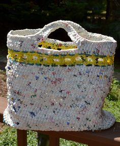 Plarn Crocheted Bag Plastic Bag Upcycle Practice the 3 Rs (Reduce, Reuse, Recycle) with your crochet, knitting and crafting