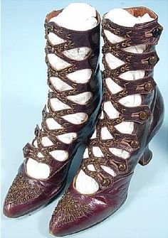 Circa 1913 Cutout/Openwork Eggplant Brown Leather boots covered in Copper Beading by N. SNELLENBERG, Philadelphia. Via http://www.antiquedress.com/.