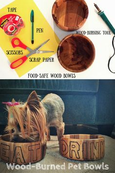 How to Make Wood-Burned Pet Bowls >> http://blog.hgtv.com/design/2015/08/12/make-your-own-wood-burned-dog-bowl/?soc=pinterest