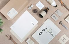 Beautiful and minimal branding and packaging design for Beige by Josep Puy dedicated to personal hygiene products and body beauty care. Beige are nature-based products and aromas of plants, trees with other natural elements. Minimal Graphic Design, Graphic Design Branding, Graphic Design Inspiration, Logo Branding, Logo Design, Logos, Product Branding, Letterhead Design, Branding Ideas