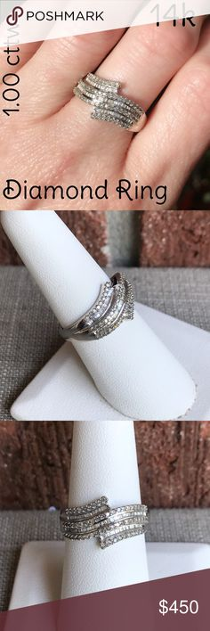 🎄14k Gold 1.00 ctw Diamond Beautiful Cluster Ring Amazing Kay Jewelers 14k White Gold 1.00 cttw Diamond Cluster Ring. Marked 14k SUN. Size 7. Weight 3.3 grams. Gorgeous ring, great everyday wear! Wear dressed up or down, would also make an amazing gift 4 someone special! 🎄 Preloved: May Show Slight Signs Of Having Been Worn. Listing Images Are Of The Actual Item Being Offered. Plz ask all ?'s b4 purchasing. I ship same day! Buy w/ confidence 475 5 ⭐️ feedback. Plz make reasonable offer…