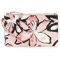 Kate Spade New York Slim Bee Floral Wristlet ($68) ❤ liked on Polyvore featuring bags, handbags, clutches, antilles bubbles, floral wristlet, floral purse, wristlet purse, pink handbags and kate spade handbag