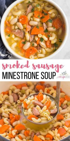 French Delicacies Essentials - Some Uncomplicated Strategies For Newbies This Smoked Sausage Minestrone Soup Is Made With Six Ingredients And Loaded With Flavor Pasta, Beans, Veggies And Sausage Makes It A Hearty And Comforting Meal. Healthy Soup Recipes, Easy Healthy Dinners, Vegetarian Recipes, Cooking Recipes, Chili Recipes, Smoker Recipes, Ww Recipes, Fall Recipes