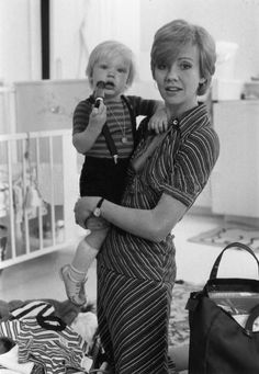 Hayley Mills and her son Crispian  in London, 1974 photo by Graham Wood....Crispian Mills, achieved recognition as the lead singer and guitarist for the psychedelic rock band Kula Shaker.